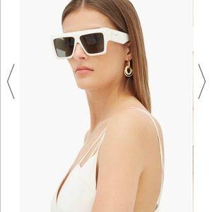 Celiné White Rectangular Acetate Sunglasses